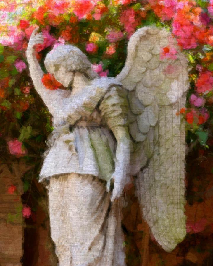 Pink Flower Digital Art - Angel by Paul Bartoszek