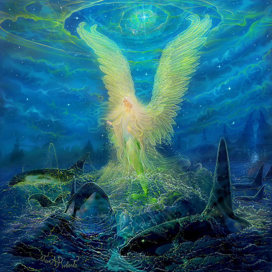 Fantasy Painting - Angel Tarot Card Mermaid Angel by Steve Roberts