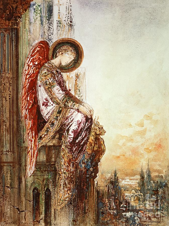 Watercolor Painting - Angel Traveller by Gustave Moreau