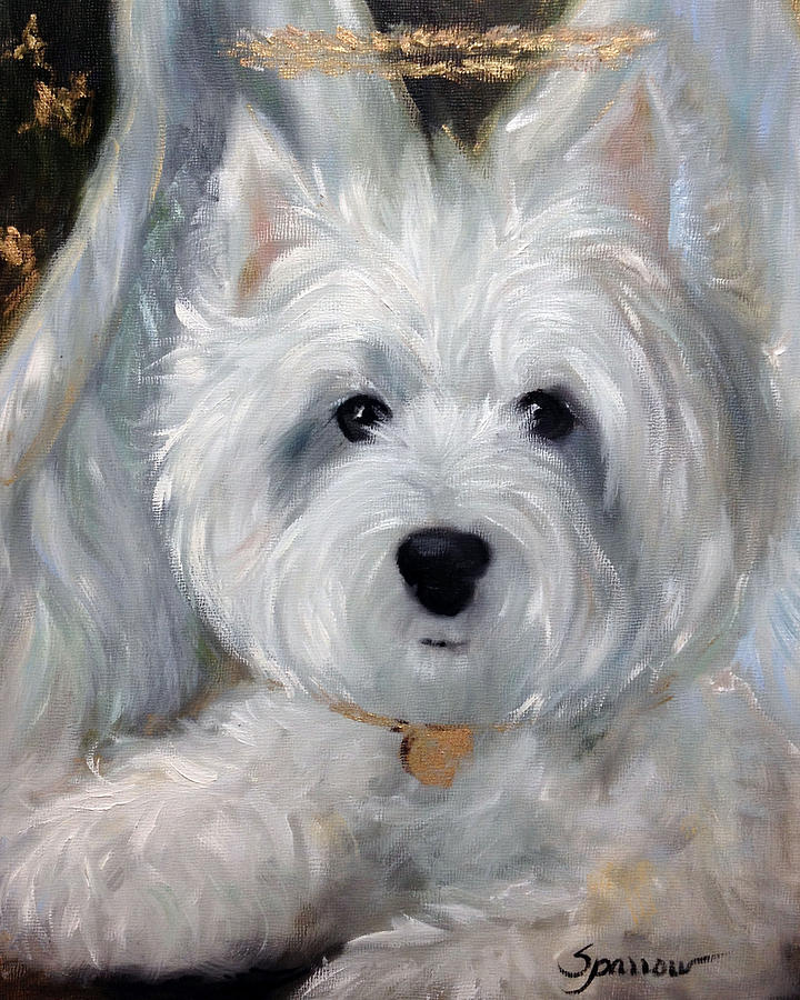 Angel Painting - Angel Westie by Mary Sparrow