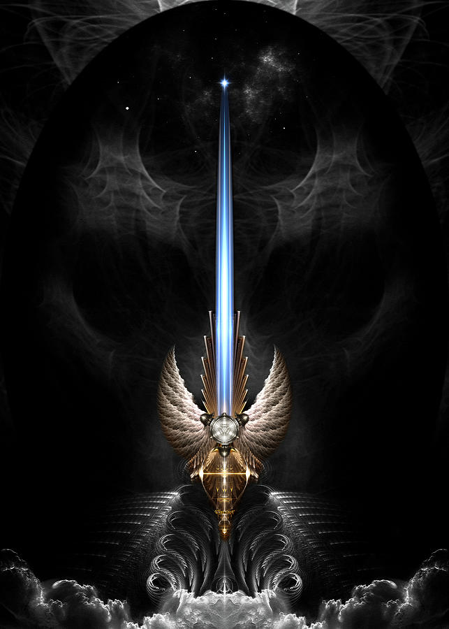 Sword Digital Art - Angel Wing Sword Of Arkledious Dgs by Xzendor7