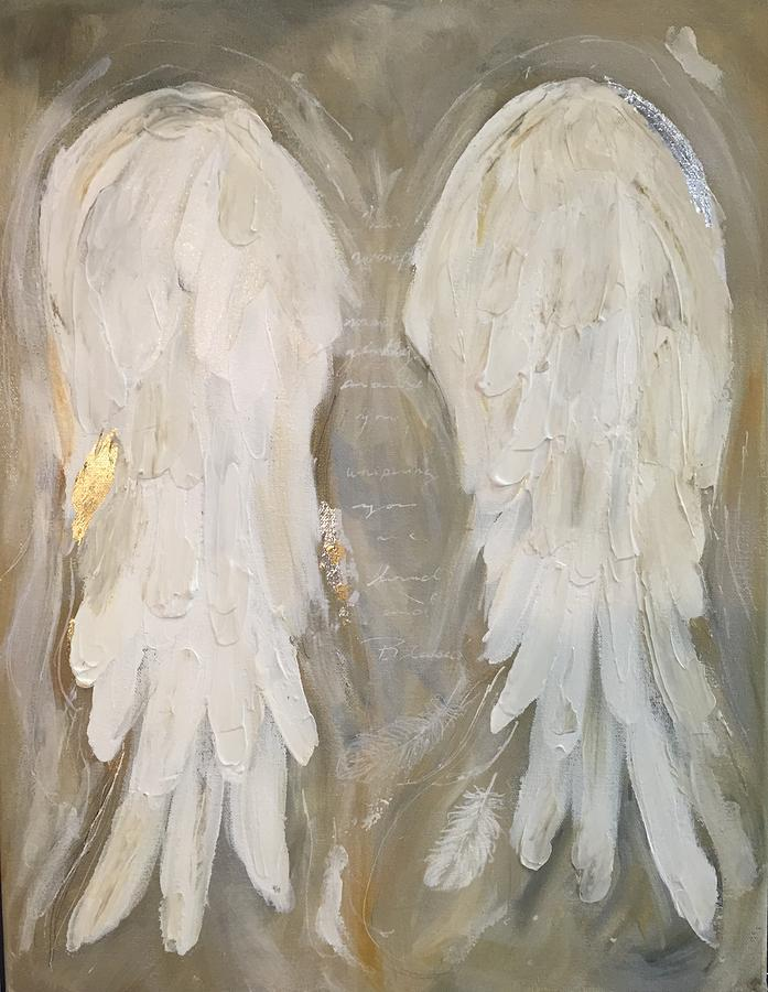 Angel Wings With Gold Painting By Michelle Lake