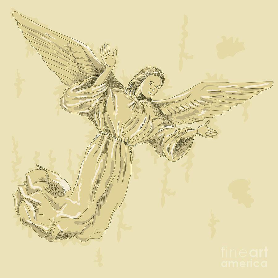 Angel Digital Art - Angel With Arms Spread by Aloysius Patrimonio