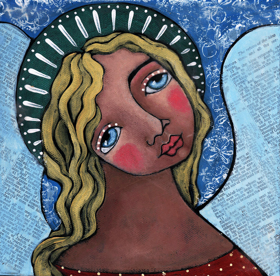 Angel Painting - Angel With Green Halo by Julie-ann Bowden