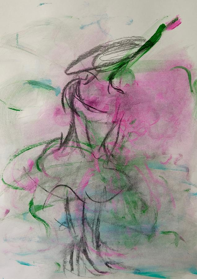 Pink Painting - Angel With Pink Wings by Barbara Rose Brooker