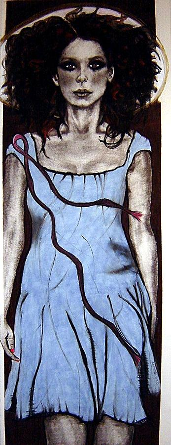 Breast Cancer Drawing - Angel With Ribbon by Chrissa Arazny- Nordquist