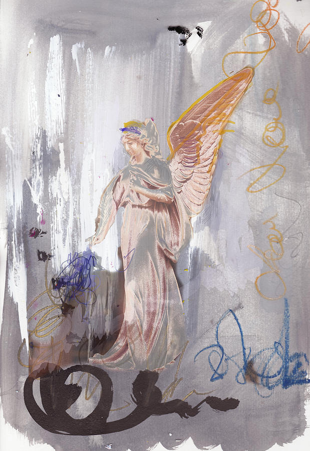 Collage Painting - Angel Writing Doodles In Spirit by Amara Dacer