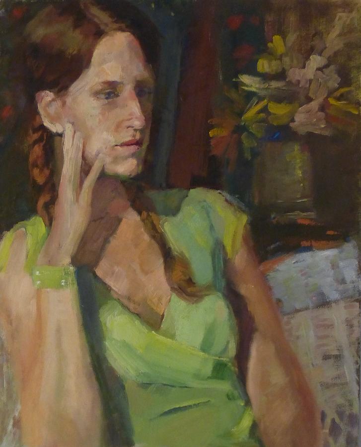 Portrait Painting - Angela In Green Dress by Irena Jablonski