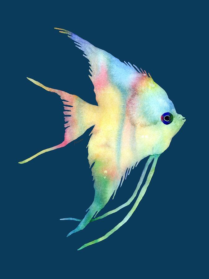 Fish Painting - Angelfish I - Solid Background by Hailey E Herrera