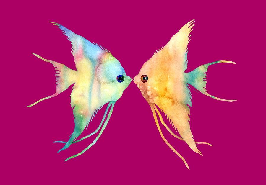 Angelfish Kissing Painting