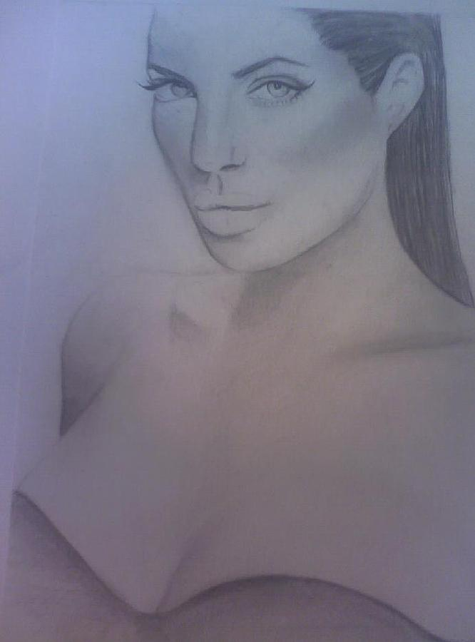 Angelina Jolie Drawing - Angelina Jolie  by Angela Moore