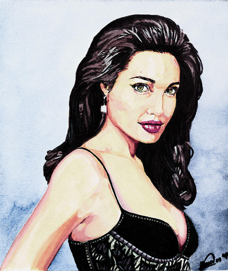 Star Painting - Angelina Jolie Portrait by Alban Dizdari