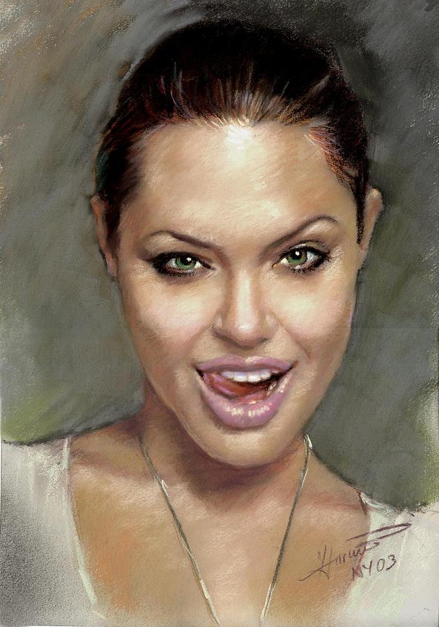 Angelina Jolie Pastel - Angelina Jolie by Ylli Haruni