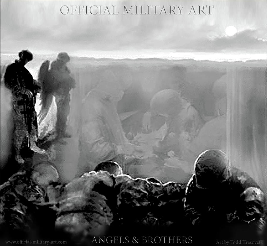 Military Artist Painting - Angels And Brothers Black And White by Todd Krasovetz