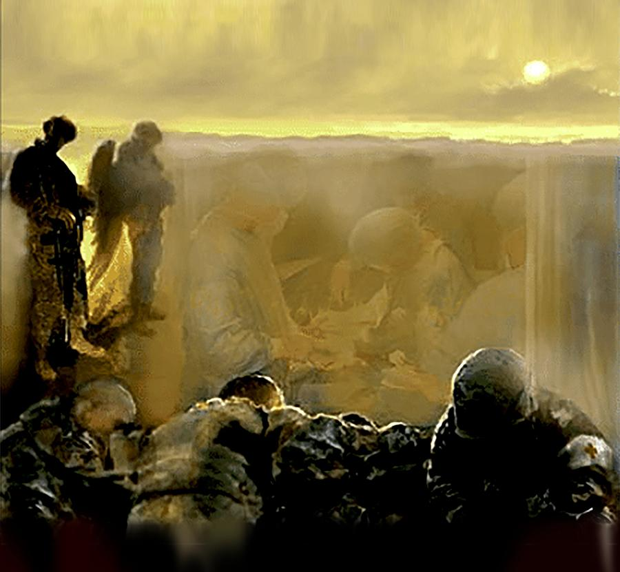 Military Artist Painting - Angels And Brothers by Todd Krasovetz