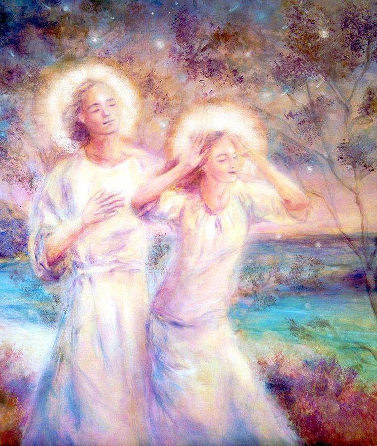 Angels Painting - Angels By The Sea  by Marija Schwarz