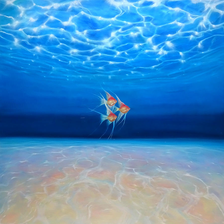 Angels in a big blue ocean painting by gill bustamante for Ocean blue fish oil