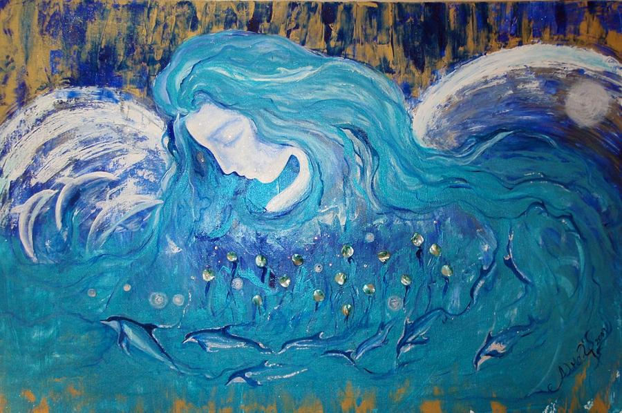 Angels Painting - Angels Of The Sea.. Wild Dolphins by Alma Yamazaki