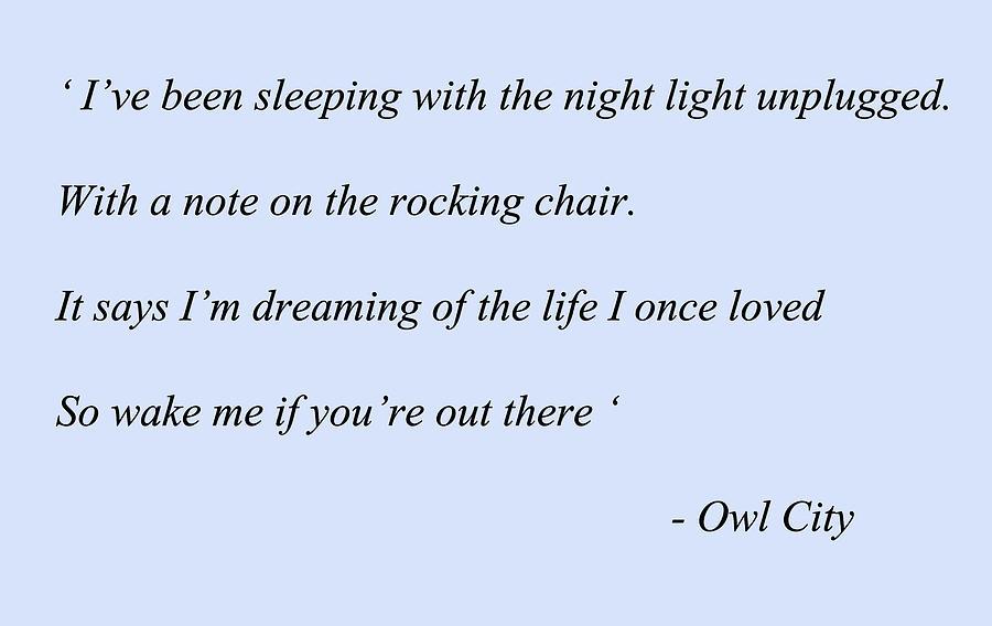 Angels Owl City Lyrics Digital Art By Thomas Pollart