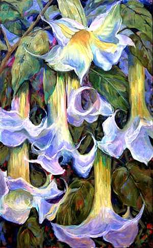 Angels Trumpets Painting by Betty Cummings