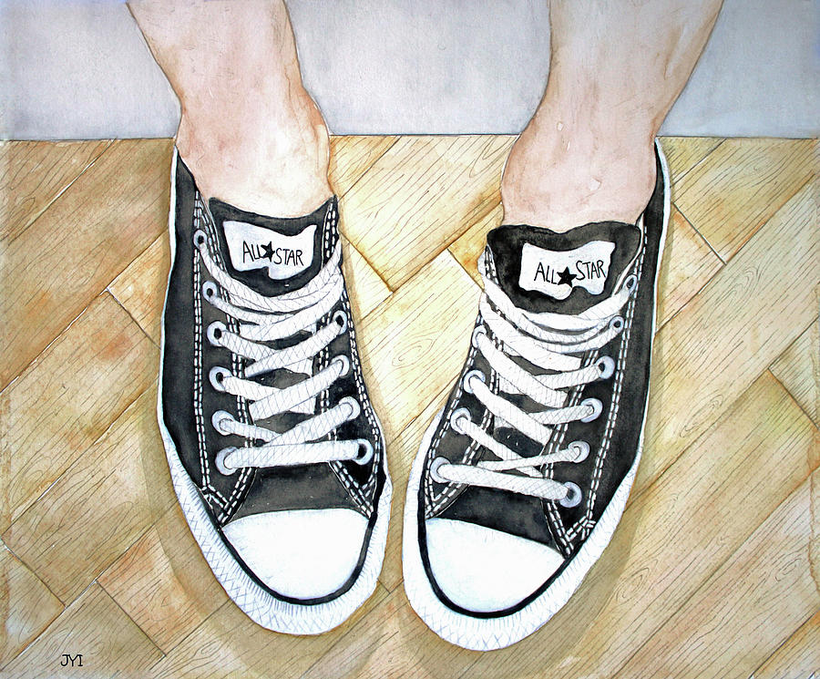 Gym Shoes Painting - Angels Verses by Janet Immordino