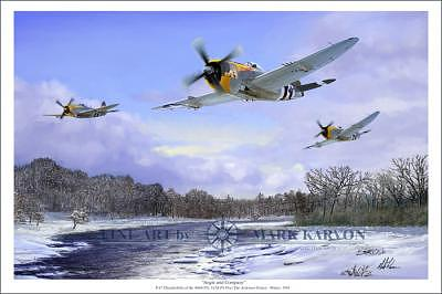Aviation Painting - Angie And Company - P-47 Thunderbolts by Mark Karvon
