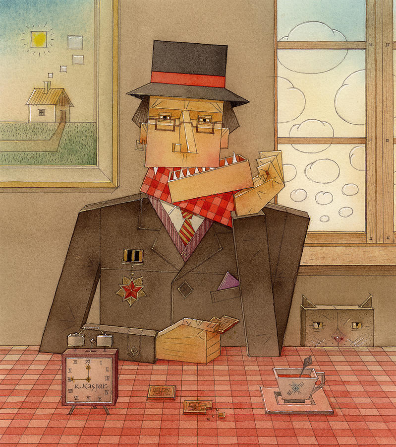 Angle Portret Red Brown Kitchen Cat Clock Clouds Window Cubism Painting - Angleman06 by Kestutis Kasparavicius