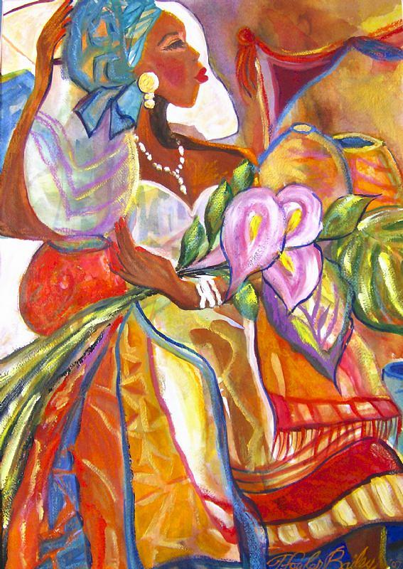 Calla Lillies Painting - Angola Woman With Calla Lillies by Therese Fowler-Bailey