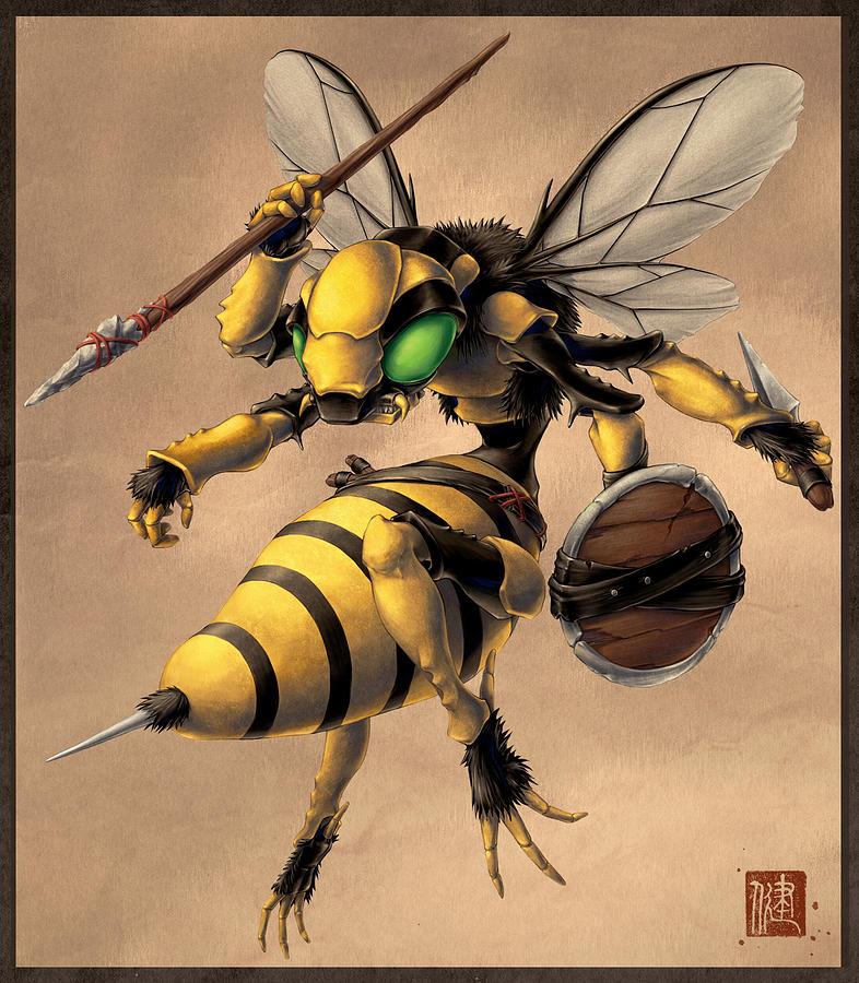 Steampunk Digital Art - Angry Bee by James Ng