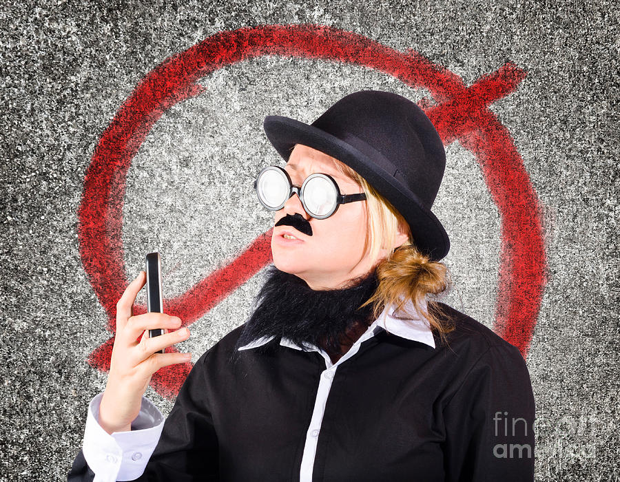 Anger Photograph - Angry Businessperson With No Mobile Phone Signal by Jorgo Photography - Wall Art Gallery