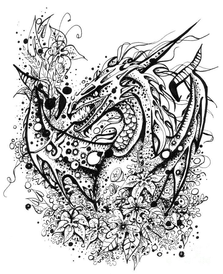 angry dragon drawing by bogoosia badowska
