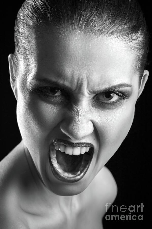 Angry Girl Screaming Photograph by Aleksey Tugolukov