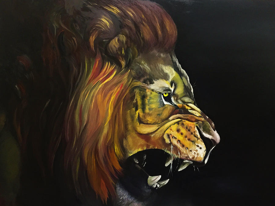 Angry lion Painting by Han Huang