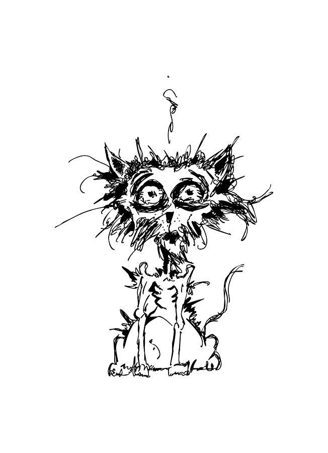 Terror Digital Art - Angst Cat by Nicholas Ely