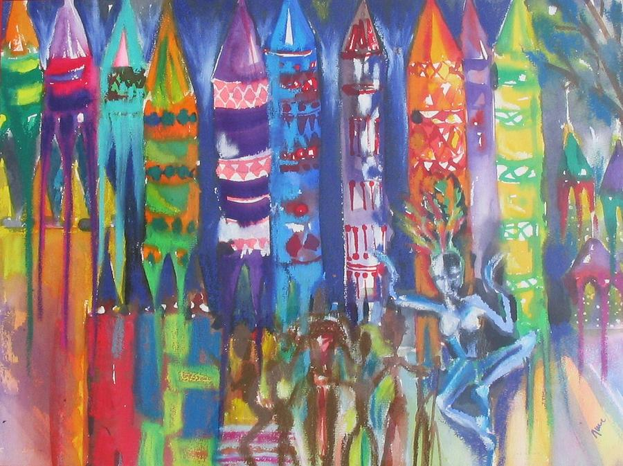 Anguna Night Market In Goa  Painting by June OConnell