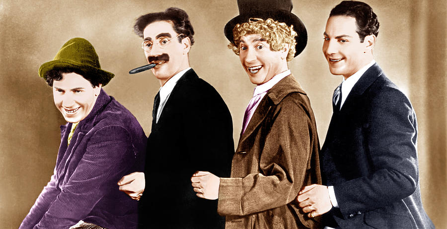 1930 Movies Photograph - Animal Crackers, From Left Chico Marx by Everett