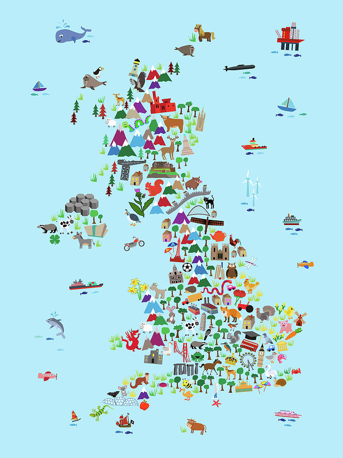 Kids Map Of England.Animal Map Of Great Britain And Ni For Children And Kids Digital Art