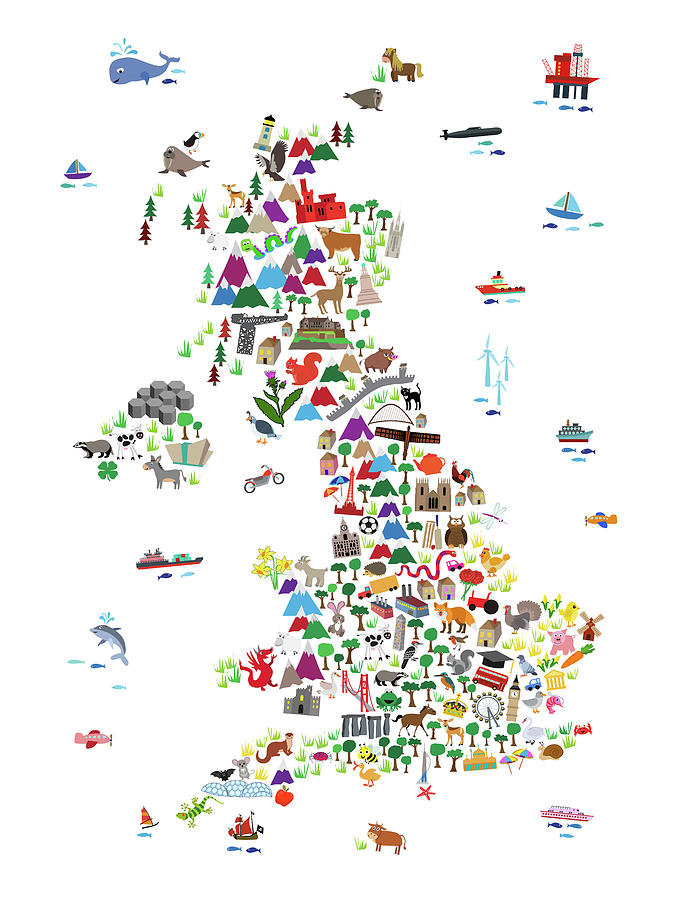 Kids Map Of England.Animal Map Of Great Britain For Children And Kids Digital Art By