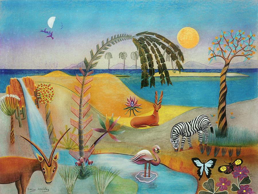 Fantasy Mixed Media - Animal Paradise by Sally Appleby