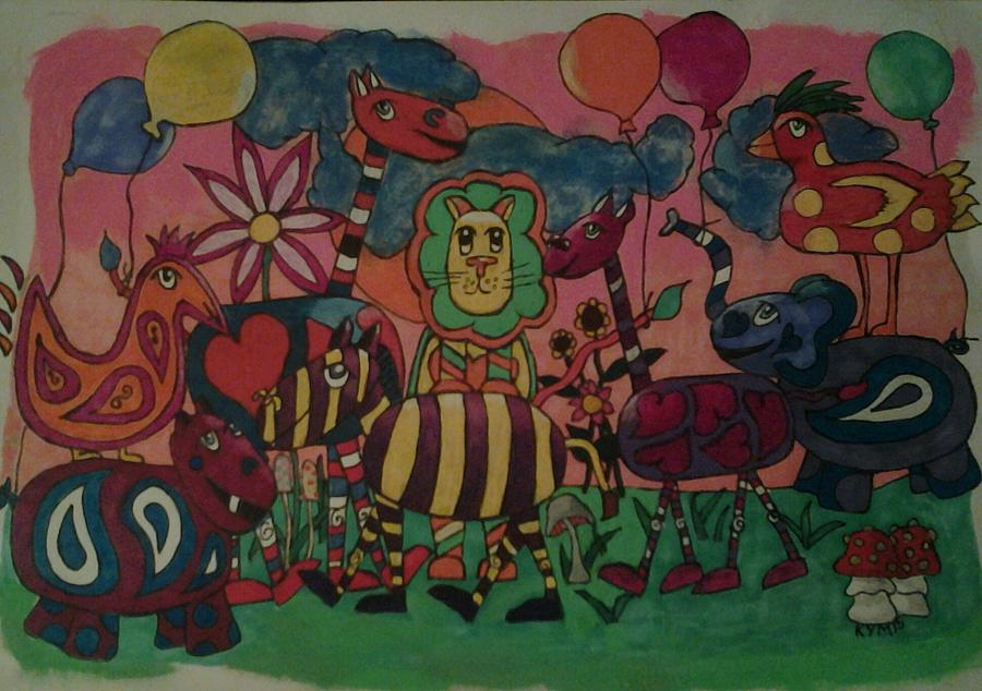 Party Animals Drawing - Animal Party by Kym Petrie Elliott