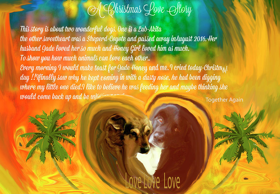 Christmas Digital Art -  Animals-Christmas Love Story by Sherris - Of Palm Springs