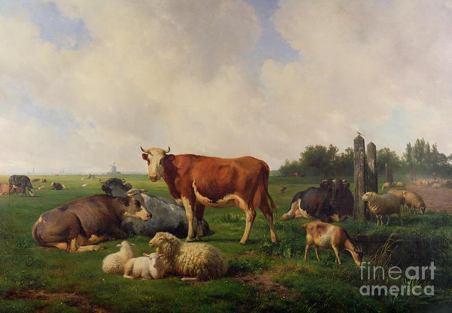 Animals Painting - Animals Grazing In A Meadow  by Hendrikus van de Sende Baachyssun