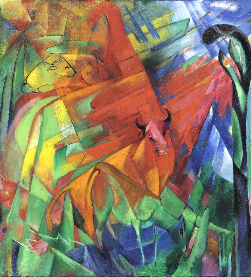 Animals In Landscape Painting - Animals In Landscape Red And Yellow Bulls Resting by Franz Marc