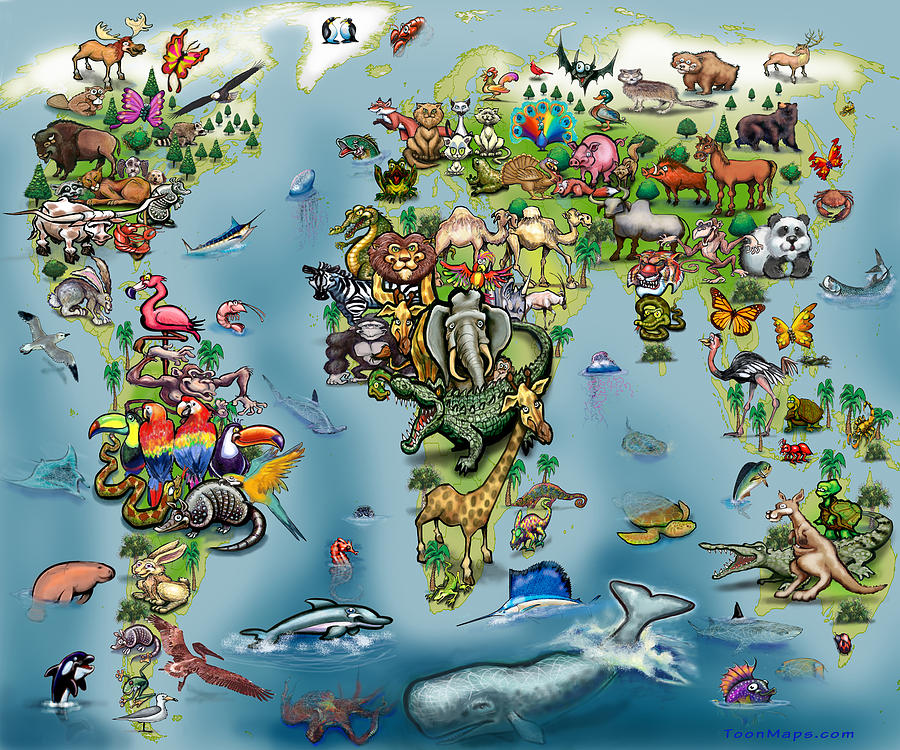 Animals World Map Digital Art By Kevin Middleton