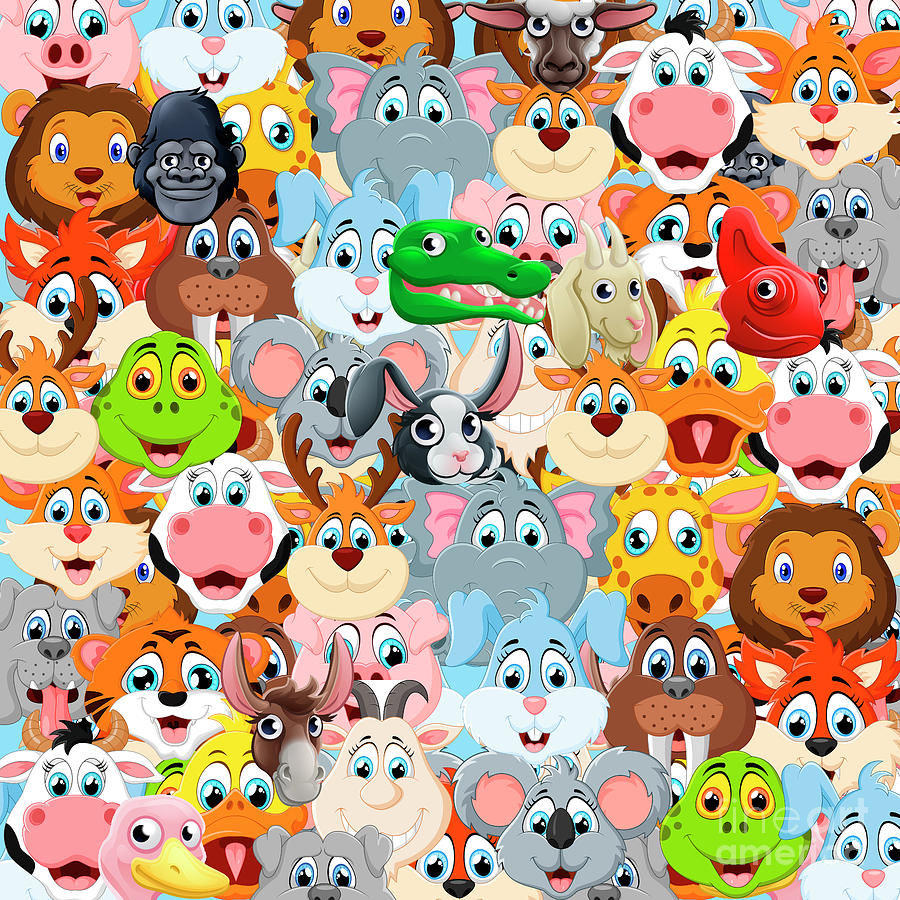 Minimal Digital Art - Animals Zoo by Mark Ashkenazi