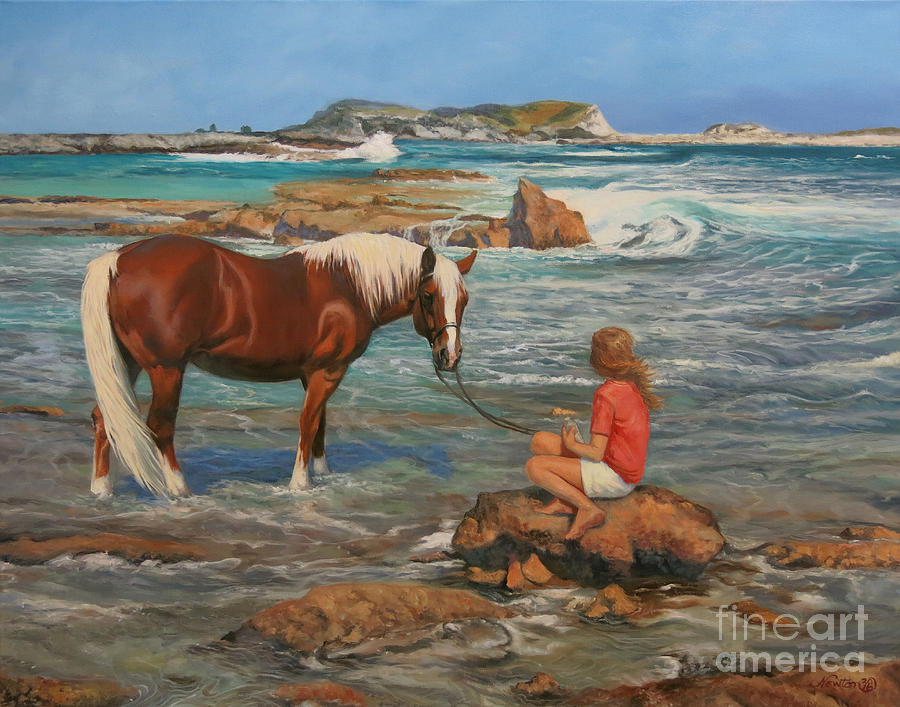 Haflinger Horse Painting - Ankle Deep by Jeanne Newton Schoborg