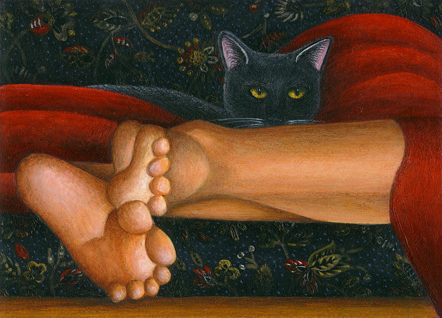Black Cat Painting - Ankle View With Cat by Carol Wilson