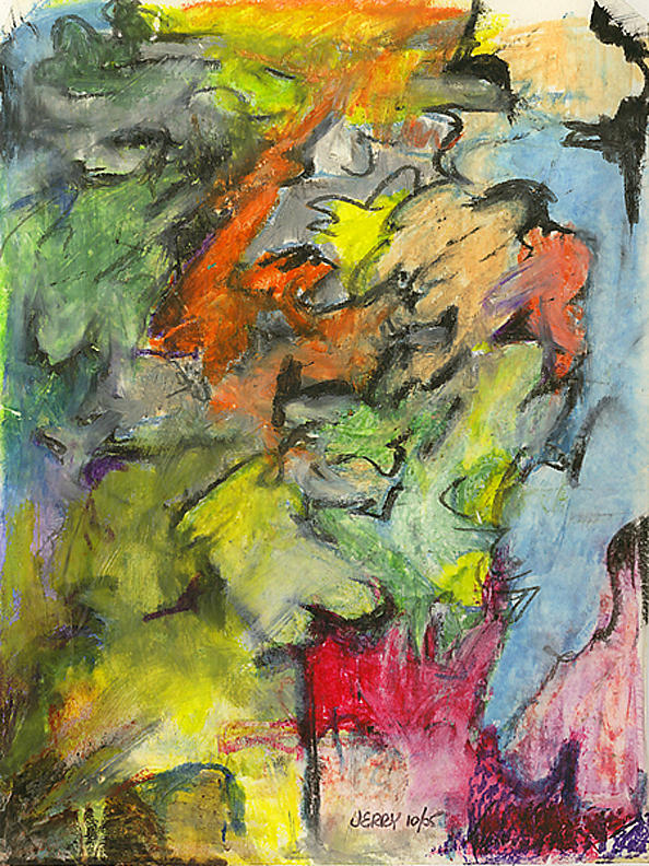 Abstract Painting - Ann And Dog by Jerry Engelbach