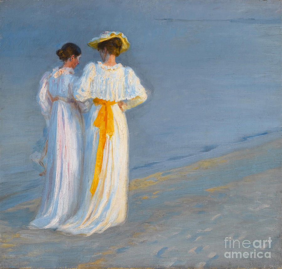 Anna Ancher And Marie Kroyer On The Beach At Skagen Painting by Celestial Images