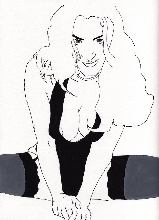 Portrait Drawing - Anna-black Stockings by Stephen Panoushek
